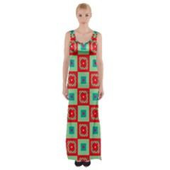 Blue red squares pattern                                Maxi Thigh Split Dress