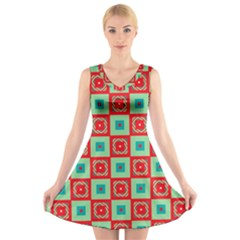 Blue Red Squares Pattern                            V Neck Sleeveless Dress