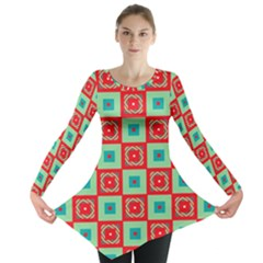 Blue red squares pattern                                Long Sleeve Tunic