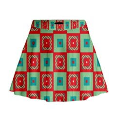 Blue red squares pattern                                  Mini Flare Skirt