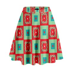 Blue Red Squares Pattern                                  High Waist Skirt