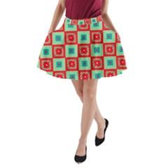 Blue red squares pattern                                A-Line Pocket Skirt