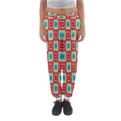 Blue red squares pattern                                Women s Jogger Sweatpants