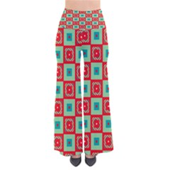 Blue Red Squares Pattern               Women s Chic Palazzo Pants