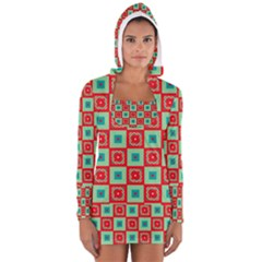 Blue red squares pattern                                Women s Long Sleeve Hooded T-shirt