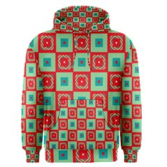 Blue red squares pattern                                Men s Pullover Hoodie