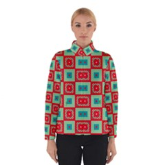 Blue red squares pattern                                Winter Jacket