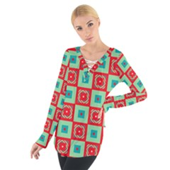 Blue Red Squares Pattern                                 Women s Tie Up Tee