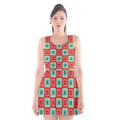 Blue Red Squares Pattern                                Scoop Neck Skater Dress