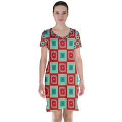 Blue red squares pattern                                Short Sleeve Nightdress
