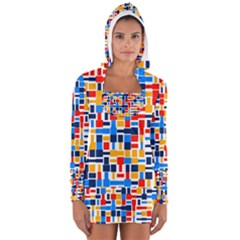Colorful shapes                                  Women s Long Sleeve Hooded T-shirt