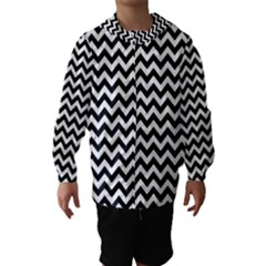 Black & White Zigzag Pattern Hooded Wind Breaker (Kids)