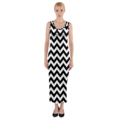 Black & White Zigzag Pattern Fitted Maxi Dress