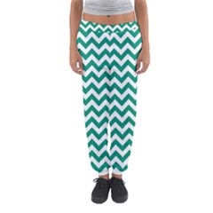 Emerald Green & White Zigzag Pattern Women s Jogger Sweatpants