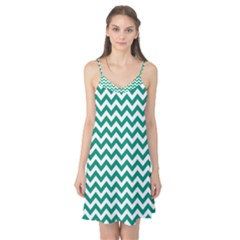 Emerald Green & White Zigzag Pattern Camis Nightgown