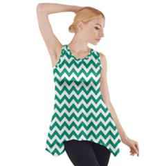 Emerald Green & White Zigzag Pattern Side Drop Tank Tunic