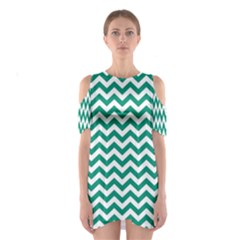 Emerald Green & White Zigzag Pattern Cutout Shoulder Dress