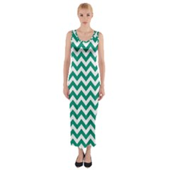 Emerald Green & White Zigzag Pattern Fitted Maxi Dress