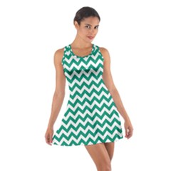 Emerald Green & White Zigzag Pattern Racerback Dresses