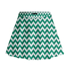 Emerald Green & White Zigzag Pattern Mini Flare Skirt