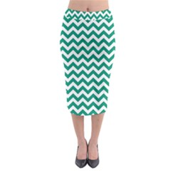 Emerald Green & White Zigzag Pattern Midi Pencil Skirt