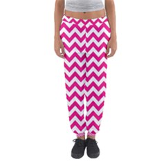 Hot Pink & White Zigzag Pattern Women s Jogger Sweatpants