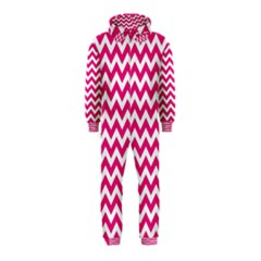 Hot Pink & White Zigzag Pattern Hooded Jumpsuit (Kids)