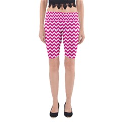 Hot Pink & White Zigzag Pattern Yoga Cropped Leggings