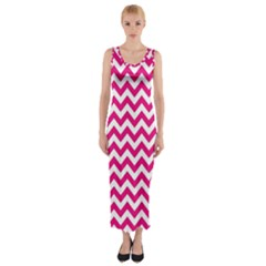Hot Pink & White Zigzag Pattern Fitted Maxi Dress