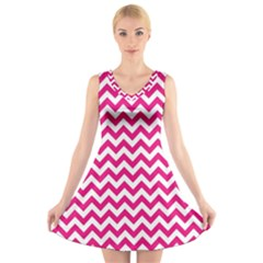 Hot Pink & White Zigzag Pattern V-Neck Sleeveless Skater Dress