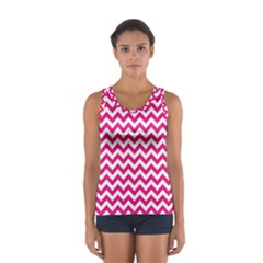 Hot Pink & White Zigzag Pattern Tops
