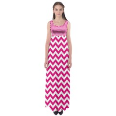 Hot Pink & White Zigzag Pattern Empire Waist Maxi Dress
