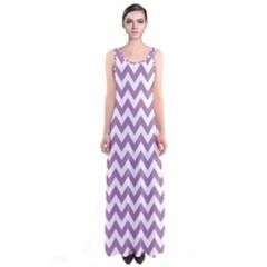 Lilac Purple & White Zigzag Pattern Sleeveless Maxi Dress