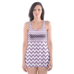Lilac Purple & White Zigzag Pattern Skater Dress Swimsuit
