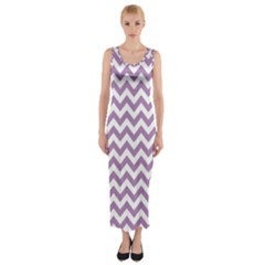 Lilac Purple & White Zigzag Pattern Fitted Maxi Dress