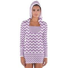 Lilac Purple & White Zigzag Pattern Women s Long Sleeve Hooded T-shirt