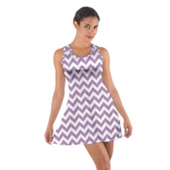 Lilac Purple & White Zigzag Pattern Racerback Dresses