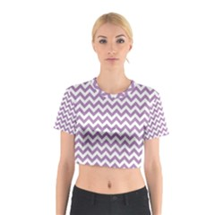 Lilac Purple & White Zigzag Pattern Cotton Crop Top