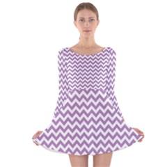 Lilac Purple & White Zigzag Pattern Long Sleeve Velvet Skater Dress