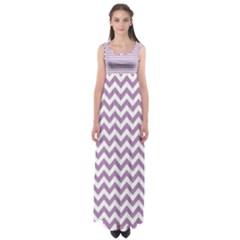 Lilac Purple & White Zigzag Pattern Empire Waist Maxi Dress