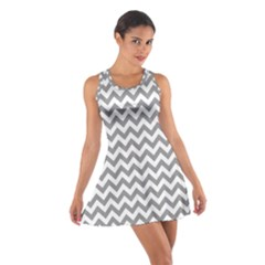 Medium Grey & White Zigzag Pattern Racerback Dresses