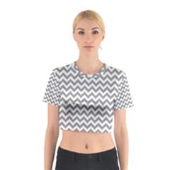 Medium Grey & White Zigzag Pattern Cotton Crop Top