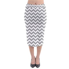 Medium Grey & White Zigzag Pattern Midi Pencil Skirt