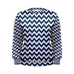 Navy Blue & White Zigzag Pattern Women s Sweatshirt