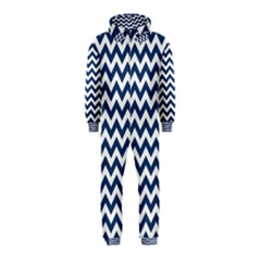 Navy Blue & White Zigzag Pattern Hooded Jumpsuit (Kids)