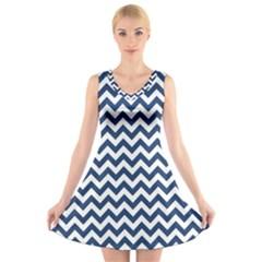 Navy Blue & White Zigzag Pattern V-Neck Sleeveless Skater Dress