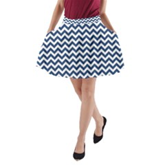 Navy Blue & White Zigzag Pattern A-Line Pocket Skirt