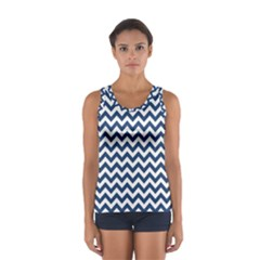Navy Blue & White Zigzag Pattern Tops