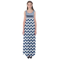 Navy Blue & White Zigzag Pattern Empire Waist Maxi Dress