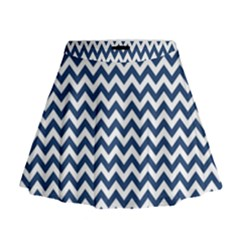Navy Blue & White Zigzag Pattern Mini Flare Skirt